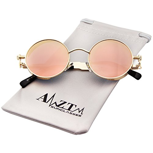 AMZTM Small Round Metal Frame Flash Mirrored Reflective Lens Polarized Women Sunglasses (Golden Frame and Pink Lens, - Cool Shades