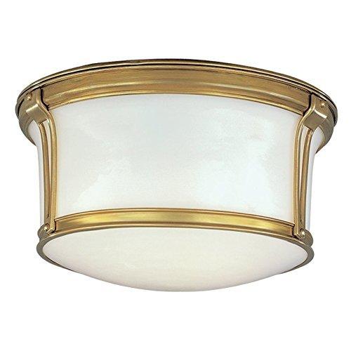 Hudson Valley Lighting Newport Flush 2-Light Flush Mount - Aged Brass Finish with Opal Glossy Glass Shade by Hudson Valley Lighting