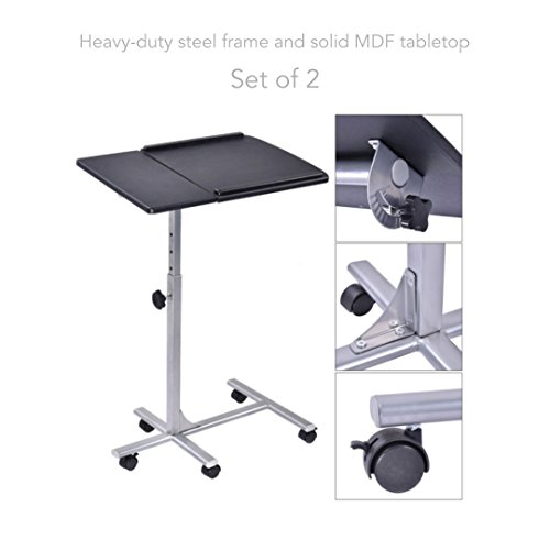 Laptop Notebook Smartphone Portable Table 5 Levels Adjustable Height Rolling Stand Desk Cart Sofa Tray Living Room School Home Office Furniture - Set of 2 #1583Blk by Koonlert@Shop