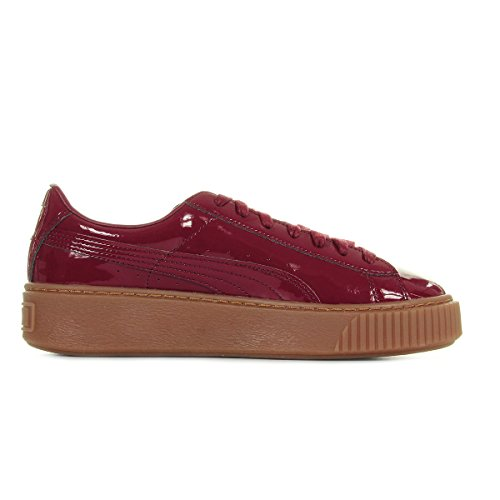 Puma Damen Basket Platform Patent Sneaker Bordeaux