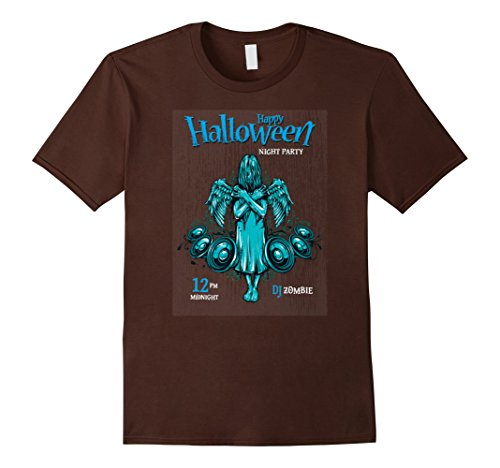 Mens Happy Halloween Night Party With Devil Halloween Tshirt. Medium Brown