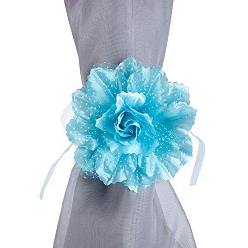Cocal 2Pcs Best Peony Blossom Curtain Clip-on Tie Backs Holdback Tieback Holder Panel Window Holdbacks Home Office Decorative Drapes Holders with Floret (H)
