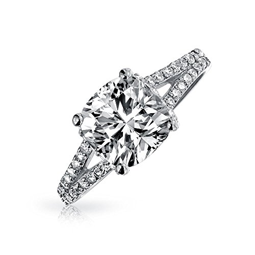 Bling Jewelry Split Shank 925 Silver 2ct Cushion Cut Pave CZ Engagement Ring ,8 (2 Carat Cushion Cut Pave Engagement Ring)
