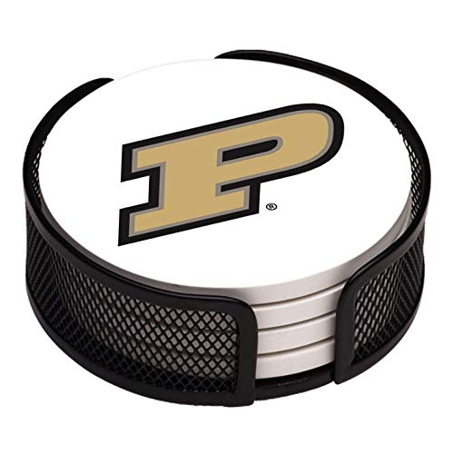 (Thirstystone VPRDU-HA17 Stoneware Drink Coaster Set with Holder, Purdue University)