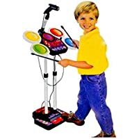 TOYMANIA Amazing Musical Electronic JR. Drum Beat Toys Set for Kids. | with MP3 Plug-in Feature, Microphone and Pedal Mechanism. | Colorful Light Effects. | Loud and Very Clear Sound | Big Size.