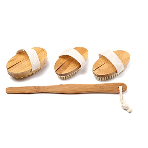 Premium Bamboo Long Handle Body Brush With Natural Boar Bristle Set Best For Wet Or Dry Skin Brushing Exfoliating Skin - Stimulating Lymphatic System Flow Increase Blood Circulation -Reduce Cellulite by zoubaa (Image #3)