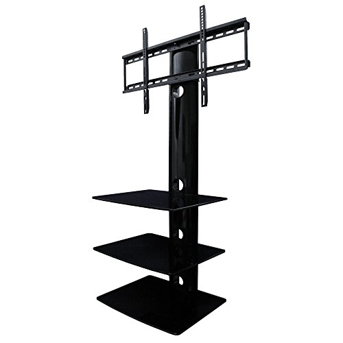 Aeon Stands and Mounts Swiveling TV Wall Mount with Three Shelves, Black