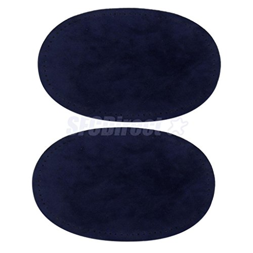 Pair Sew-On Fabric Oval Elbow Knee Patches Sweater Trousers Repair Craft Supply Blue by sfcdirect