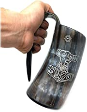 Bhartiya Handicrafts Authentic Medieval Viking Drinking Horn Mug Cup | Game of thrones Tankard For Beer, Mead, Wine, Ale, Cold and Hot Liquids Tea, Coffee