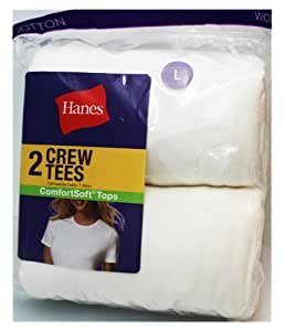 Hanes 2 Pack Womens White Crew Tees (Size Small)