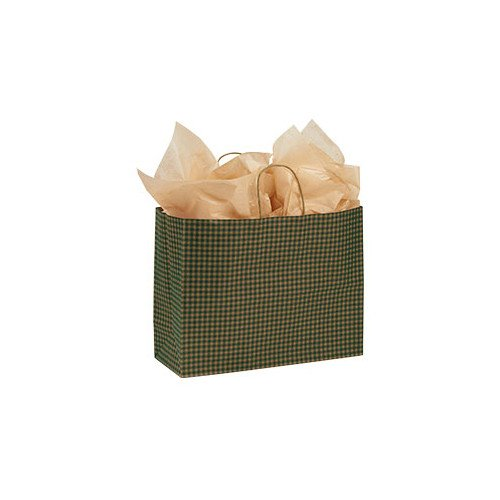 """Count of 100 Large Green Gingham Paper Shopping Bag 16"""" X 6"""" X 12"""""""