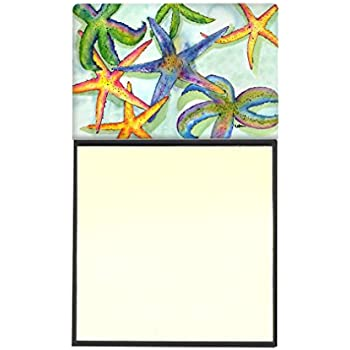 Carolines Treasures Starfish Refillable Sticky Note Holder or Postit Note Dispenser 3.25 by 5.5 Multicolor