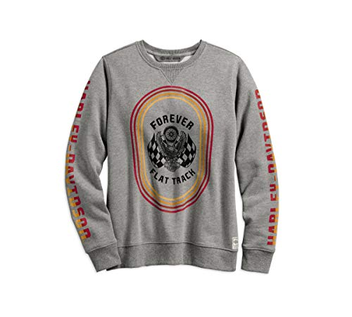 - Harley-Davidson Official Women's Forever Flat Track Pullover Sweatshirt, Grey (XX-Large)
