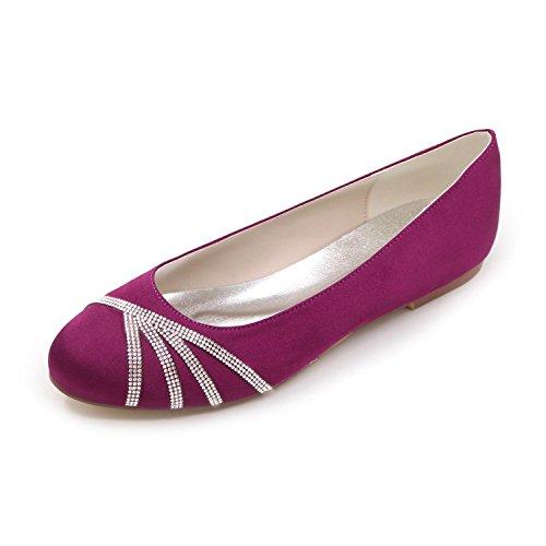 Seda De Zapatos Plano L Pisos Azul Blanco Punta Redonda Morado yc Mujer Plateado Rojo Purple Rosa Con Tacón Weddingchampagne f0CHAqx
