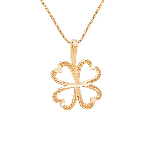 "Solid 14k Yellow Gold Four Leaf Clover Diamond Cut Pendant Necklace | Includes 20"" Gold Chain 