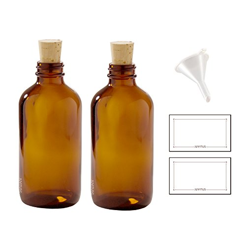 8 oz Amber Glass Boston Round Bottle with Cork Stopper Closure (2 Pack) + Funnel and ()