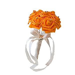 Afco Wedding Bridal Bouquet,Bride Bridesmaid Handmade Wedding Party Rhinestone Inlaid Artificial Flower size 10cm x 15cm (Orange) 112