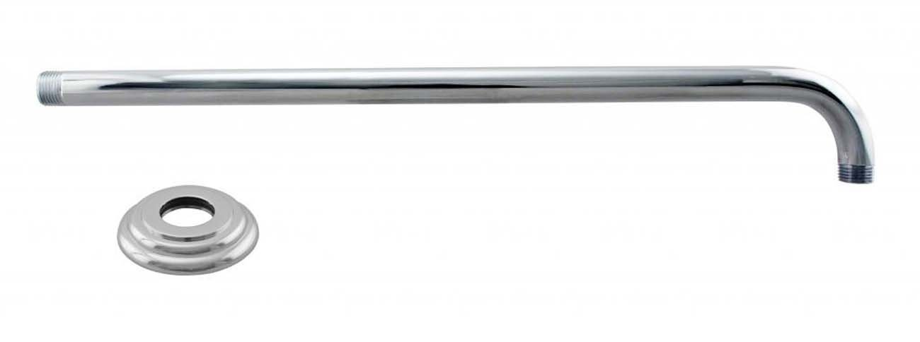 Westbrass 1/2'' IPS x 19'' 90-Degree Rain Shower Arm with Flange, Polished Chrome, D3703-1-26