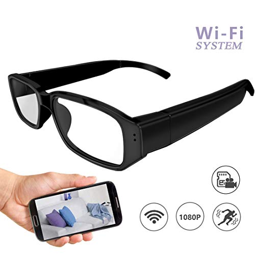 Wi-Fi Hidden Camera Glasses 1080P Full HD Spy Camera Motion Detection Activated Real-time Video Remotely APP ()