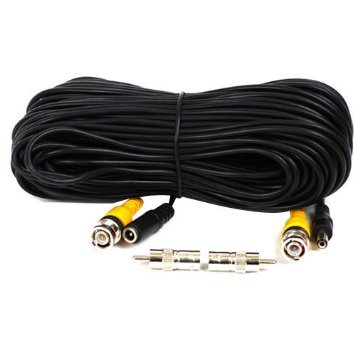 VideoSecu 50ft Security Camera Cable Pre-made All-in-One Video Power 50 Feet CCTV Wire with BNC RCA Connectors for DVR Surveillance System CWM