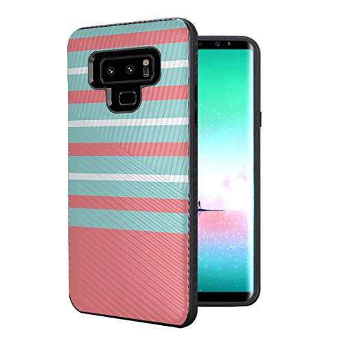 - Capsule Case Compatible with Galaxy Note 9 [Embossed Diagonal Lines Hybrid Dual Layer Slim Armor Black Case] for Samsung Galaxy Note 9 - (Orange Mint Stripe)