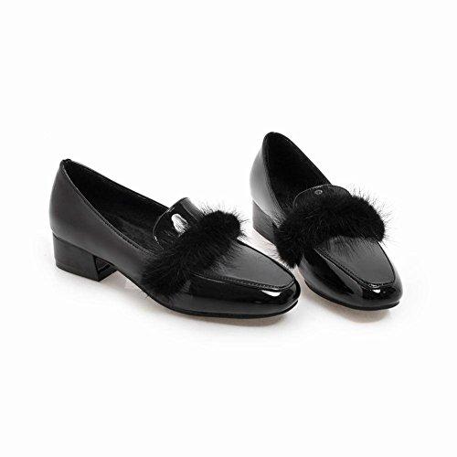 ... YE Damen Flache Lack Pumps Geschlossen mit Fell Bequem Elegant Kleid  Schuhe Schwarz ...