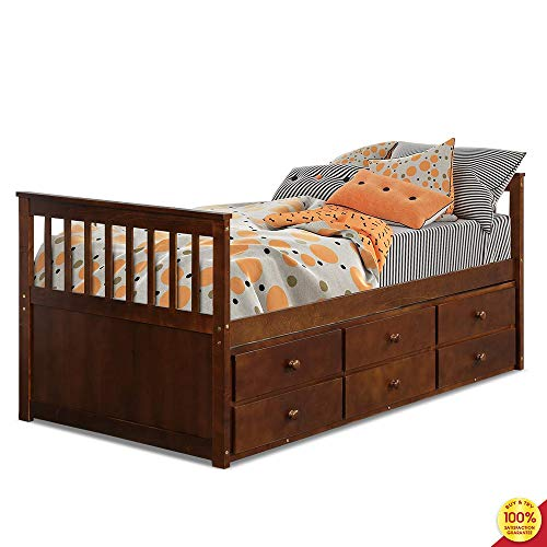 Platform Captain's Twin Daybed with Trundle Bed and Storage Drawers, Brown