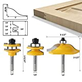 WSOOX 3 PCS Router Bit Set, Round Over Raised Panel Cabinet Door Ogee Rail and Stile Router Bits, Woodworking Wood Cutter, Groove Tongue Milling Tool for Woodworking
