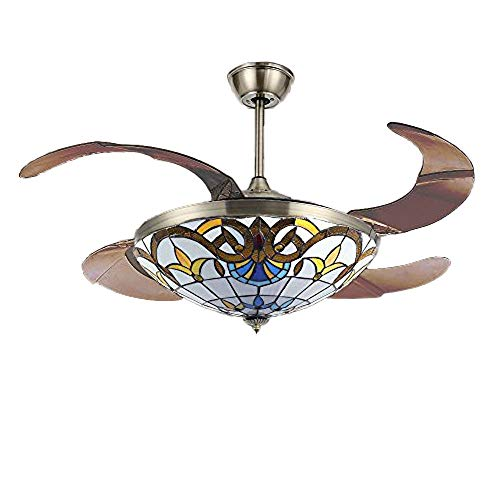 Huston Fan 42 inch Ceiling Fan with Light Mediterranean Style Stealth Fan Lights with Remote Control for Indoor Living Bedroom-Brozen