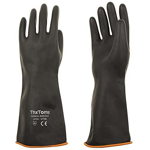 ThxToms Heavy Duty Latex Gloves - Resist Strong Acid, Alkali and Oil - 14 in.