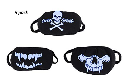 3 Pack Personalized Fluorescent Luminous Mouth Mask Breathable Washable Cotton Mask Anti-dust Fashion Horror Skull Head Teeth Pattern Halloween Mask for Men Women