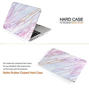 iDOO Soft Touch Plastic Hard Matte Case ONLY for MacBook Pro 13 inch with Retina Display NO CD Drive (A1425 / A1502) - Pink Marble