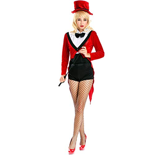 Magician Girl Ladies Circus Ringmaster Sexy Lion Tamer Fancy Dress Costume