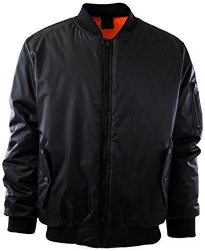 Mens Premium Quality Bomber Flight Jacket (2XL, 5308-BLACK)