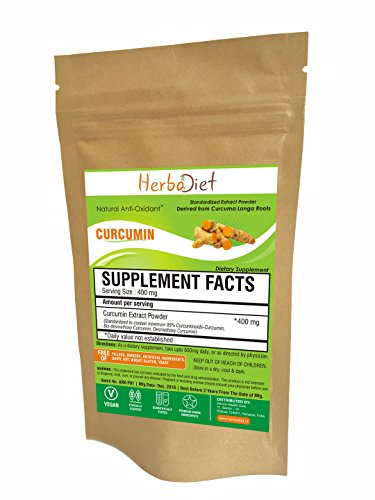 Herbadiet Curcumin 95 Natural Turmeric Extract Powder 100 Pure Curcumin No Fillers 350 Gm Pack
