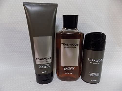 Bath and Body Works Teakwood - Three Piece Men's Collection 8 oz Body Cream, 3.7 oz Deodorizing Body Spray, 10 oz 2-IN-1 Hair and Body Wash