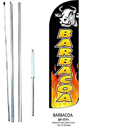 BARBACOA King Windless Flag Sign with Complete Hybrid Pole Set