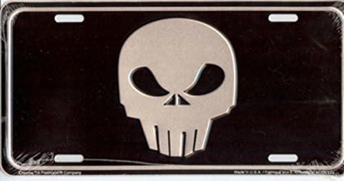 Silver Skull on Black License Plate