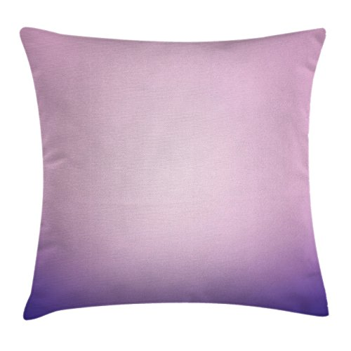 Ambesonne Lavender Throw Pillow Cushion Cover, Pink and Purple Ombre Print Modern Pastel Color Gradient Design Digital Art, Decorative Square Accent Pillow Case, 18