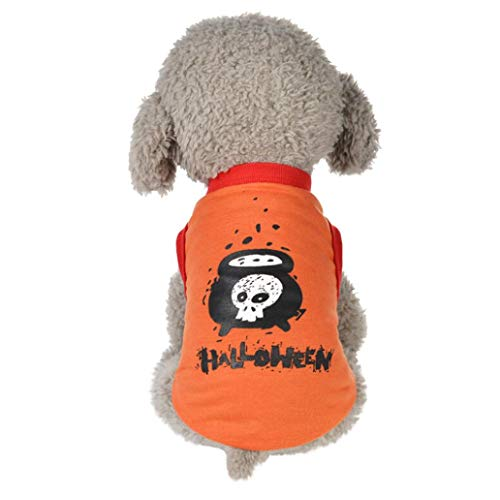 haoricu Cool Pet Halloween Costume Dog Clothes Print Small Puppy Shirt Pet Vest Apparel -