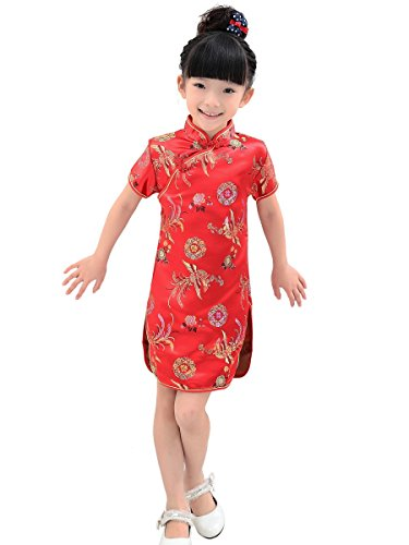 Red Phoenix Happiness Brocade Chinese Qipao for Kid (10)