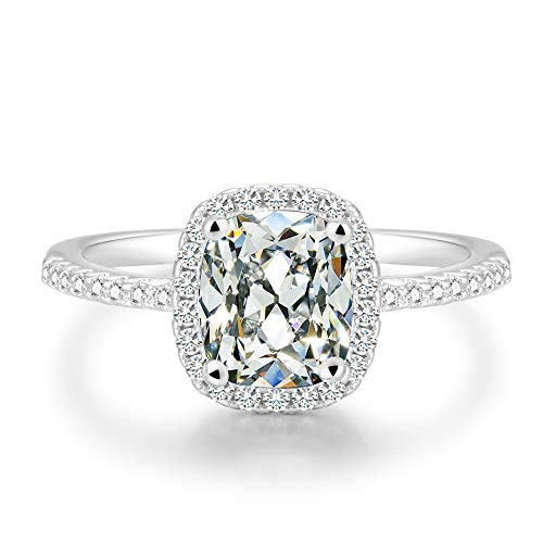 BeFab 2.25 Ct Cushion Cut Anniversary Ring Cubic Zirconia Accented Halo Engagement Ring (Silver, 5)