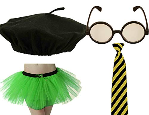 Womens Penny Crayon Party Accessory Beret hat Glasses Tutu Skirt Neck Tie Set 4Pcs One Size -