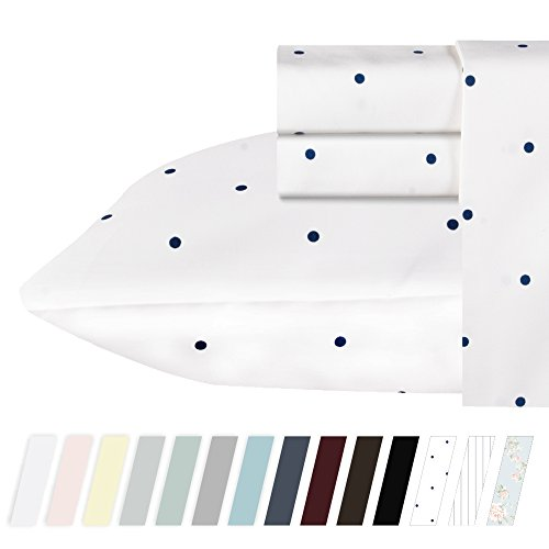 400 Thread Count 100% Cotton Sheets in Navy Dot Printed Quee