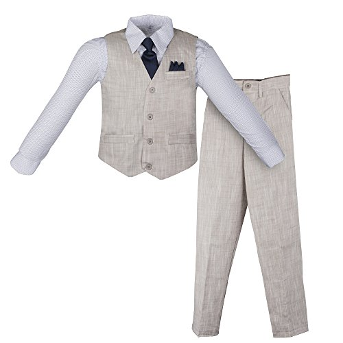 Formal Set Suit (Vittorino Boy's Linen Look 4 Piece Suit Set with Vest Pants Shirt and Tie, Grey - Navy, 18)