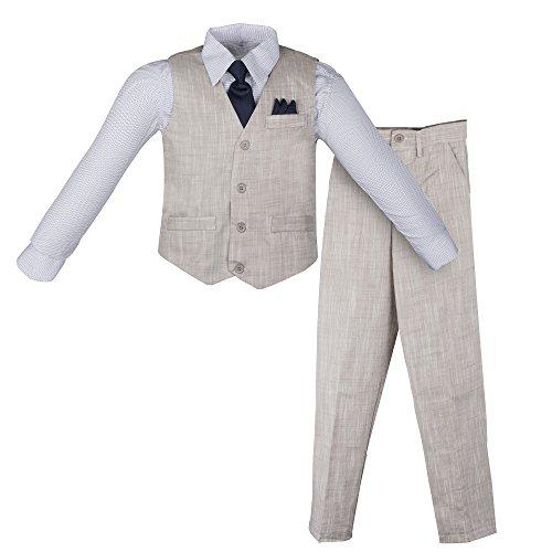 Tie Shirt Pants - Vittorino Boy's Linen Look 4 Piece Suit Set with Vest Pants Shirt and Tie, Grey - Navy, 18