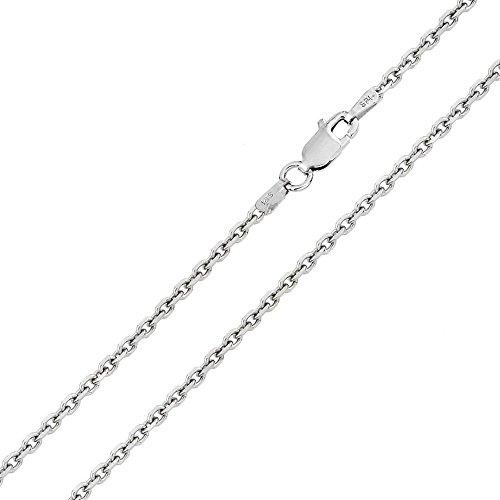 CloseoutWarehouse Rhodium Plated Sterling Silver Diamond Cut Cable Rolo 050 Chains 1.6mm (Plated Rolo Rhodium)