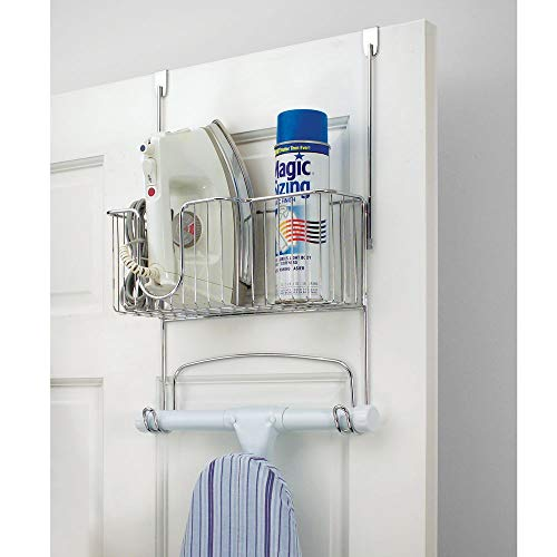 mDesign Metal Over The Door Ironing Board Holder with Large Storage Basket - Holds Iron, Board, Spray Bottles, Starch, Fabric Refresher Iron for Laundry Rooms - Chrome