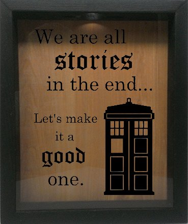 Wicked Good Decor Wooden Shadow Box Wine Cork/Bottle Cap Holder 9x11 - We Are All Stories Let's Make It A Good One (Ebony w/Black) by Wicked Good Decor