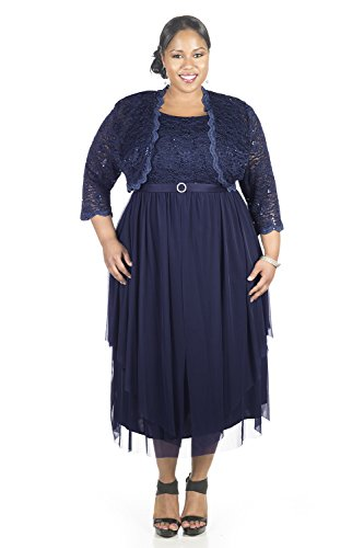 RM Richards Women's Plus Size Sequin Lace Jacket Dress - Mother of The Bride Wedding Dresses - NAVY 16W